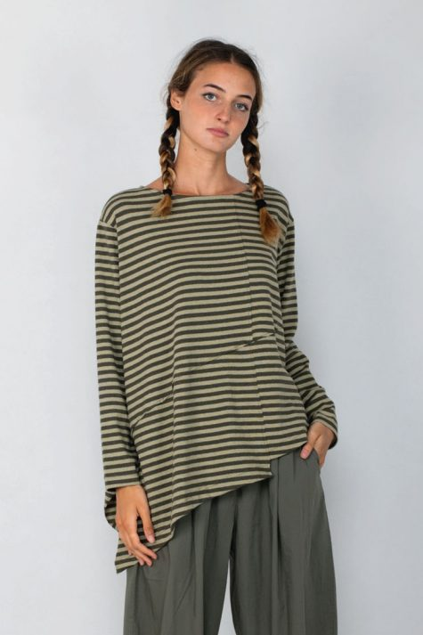 Mama B asymmetric cotton knit striped top. Also available in berry reds.