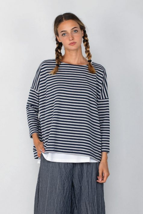 Mama B cotton knit striped boxy top, in Navy stripe.