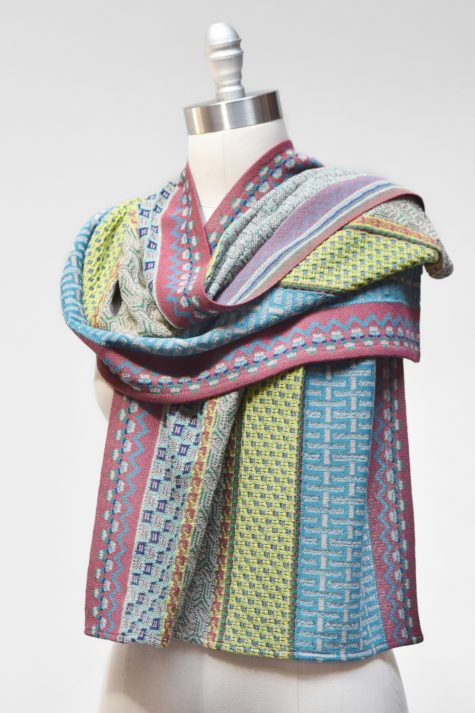 Catherine Andre wide knit shawl.