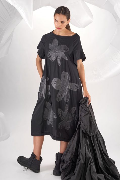 Rundholz Dip short sleeve knit dress with hand-painted flowers.