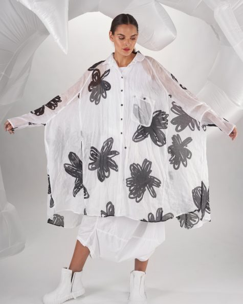 Rundholz Dip oversize shirtdress in flower-printed cotton gauze.