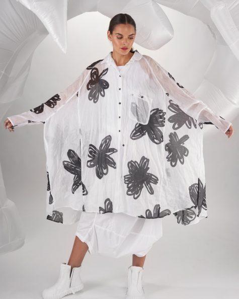 Rundholz Dip oversize shirtdress in flower-printed cotton gauze.