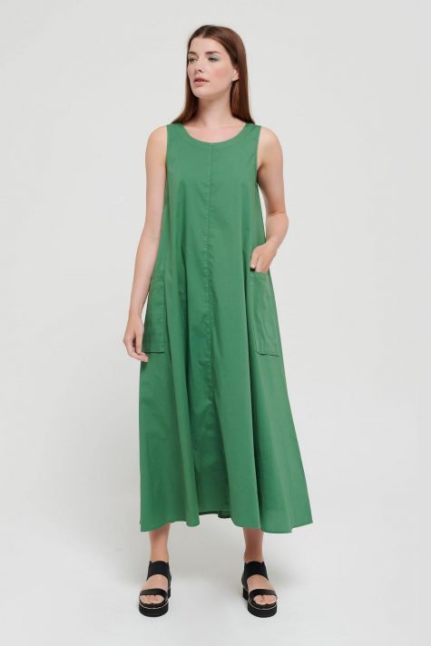 Mes Soeurs et Moi A-line cotton dress in emerald green.