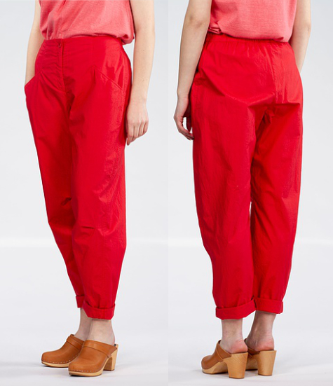 Oska 100% cotton trousers in scarlet.