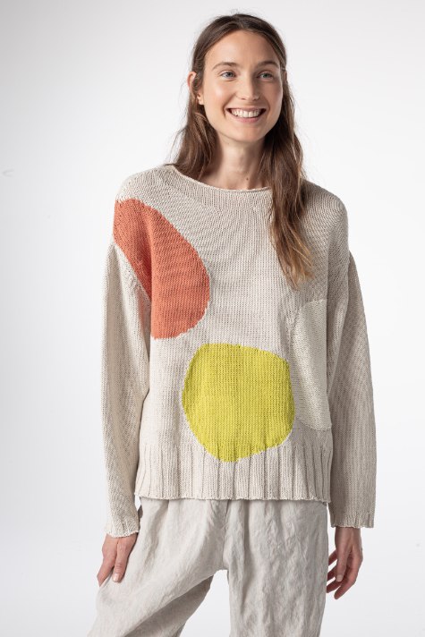 Oska relaxed knit sweater with pastel patches.