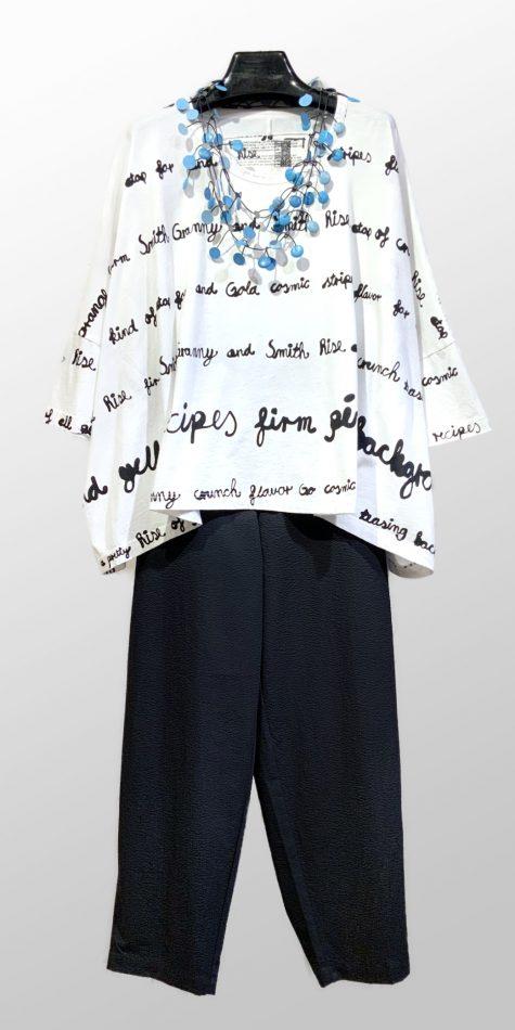 Rundholz Black Label boxy printed tee, over Mes Soeurs et Moi cotton seersucker tapered pants.