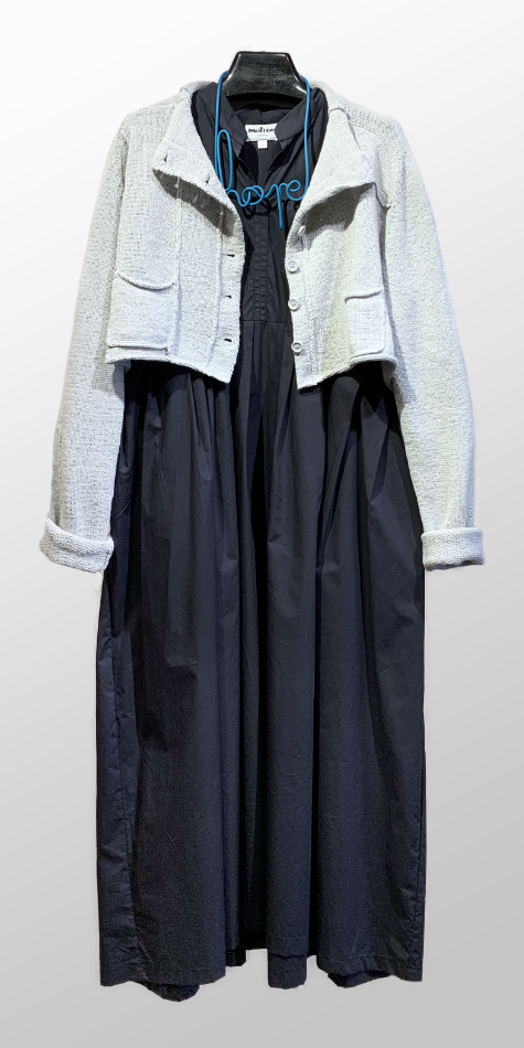 Rundholz Black Label spring knit cropped cardigan, over a Motion oversize pleated dress in a shirting cotton.