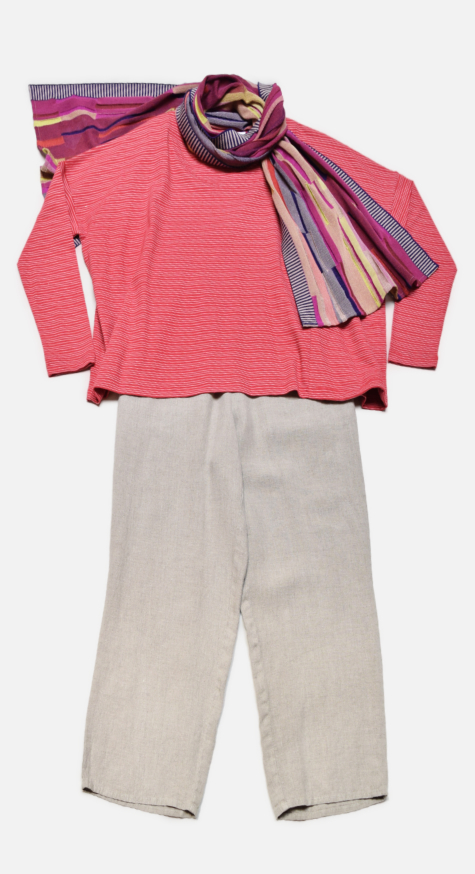 Mes Soeurs et Moi boxy striped tee, over Flax floods in Natural. Paired with a Catherine Andre knit scarf.