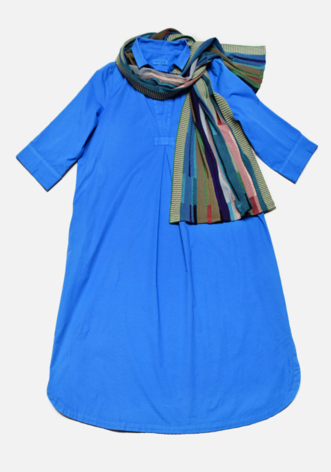 Mes Soeurs et Moi cotton shirtdress with 3/4 sleeves, paired with a Catherine Andre knit scarf.