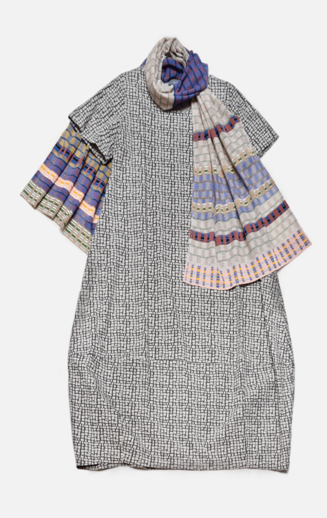Neirami printed cotton bubble dress, paired with a Catherine Andre knit shawl.