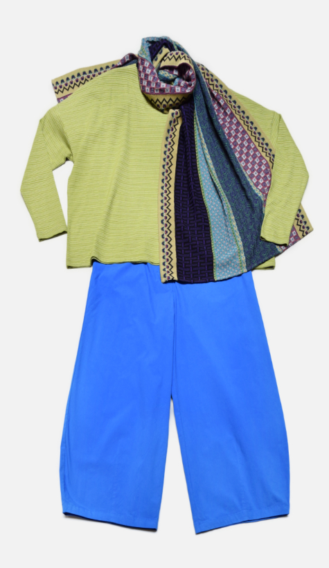 Mes Soeurs et Moi boxy striped tee, over Mes Soeurs et Moi brushed cotton cropped bubble pants. Paired with a Catherine Andre knit shawl.