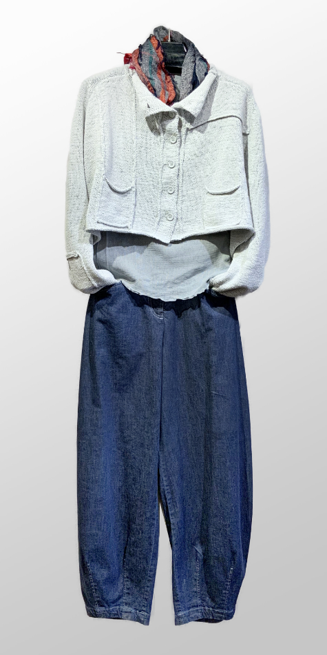 Rundholz Black Label cropped cardigan, over a Motion 100% cotton mesh tee. Layered Oska relaxed denim pants.