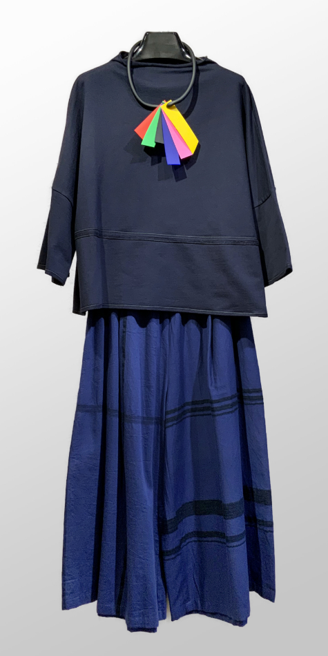 Elemente Clemente french terry funnel neck pullover, over a pair of Tamaki Niime 100% cotton wide-leg pants.