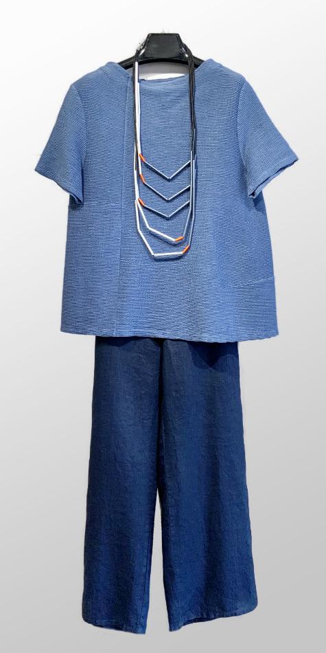 Neirami textured knit short sleeve tee, over Flax wide-leg 100% linen pants.