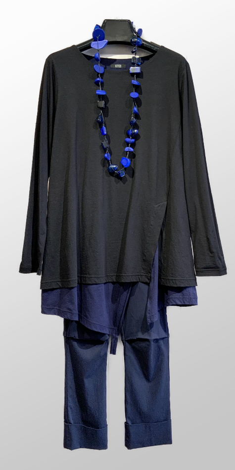 Moyuru layered cotton tunic tee, over Vespa pants in navy.