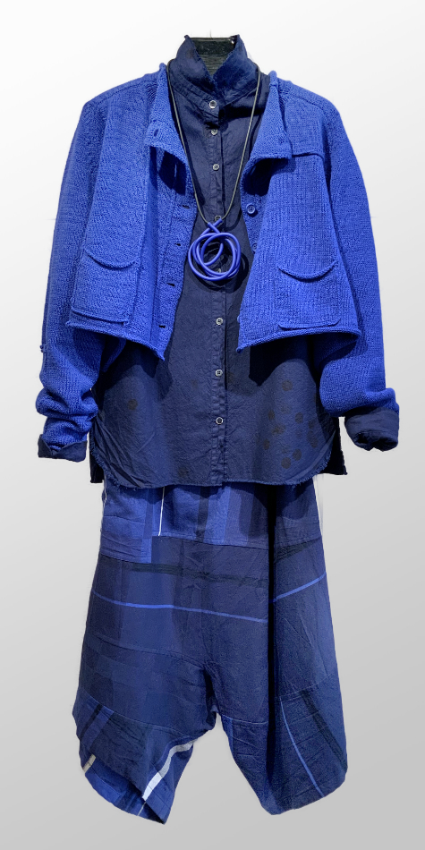 Rundholz Black Label cropped cardi in cobalt blue, over a Hannoh Wessel cotton blouse. Paired with Tamaki Niime 1005 cotton drop-rise pants.