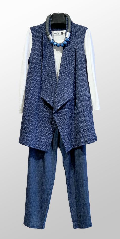 Mes Soeurs et Moi draped check vest, over a Motion cotton-linen long sleeve tee. With Mes Soeurs et Moi straight leg denim pants.
