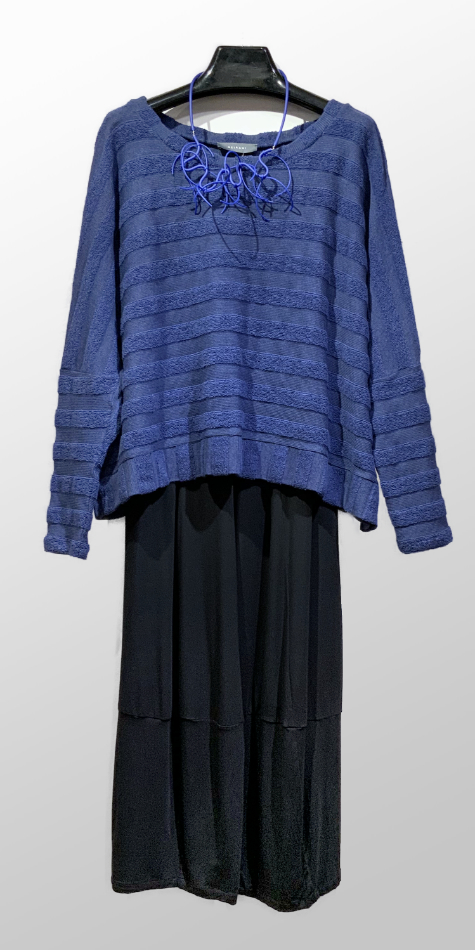 Neirami cozy stripes onesize pullover, over Motion bamboo rayon knit bubble pants.