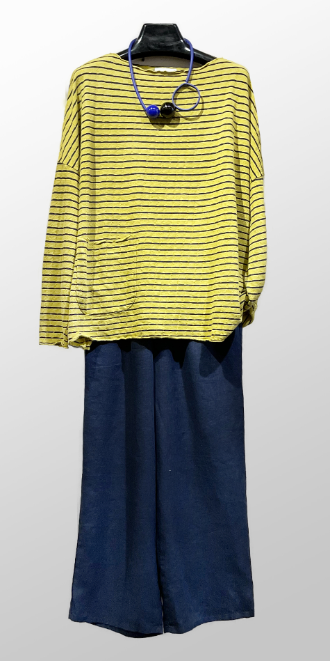 Motion onesize boxy stripe tencel tee, over Flax wide-leg pants in midnight blue.