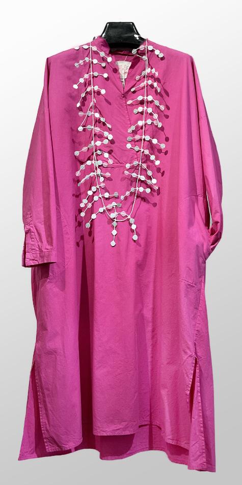 Hannoh Wessel magenta cotton shirtdress.