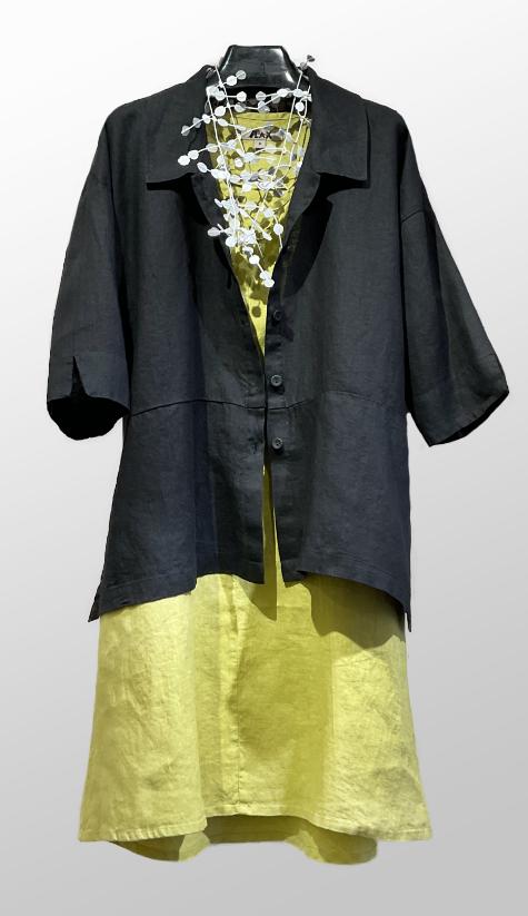 Flax linen blouse in black, over a Flax a-line linen dress.