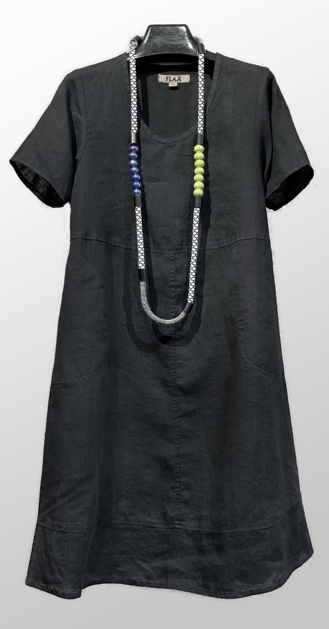 Flax short sleeve A-line dress.