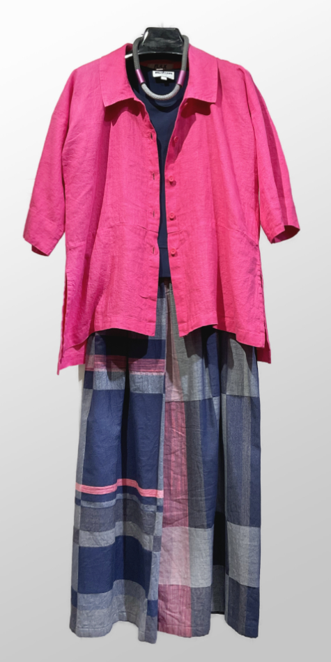 Flax linen blouse in magenta pink, over Tamaki Niime cropped wide-leg pants.