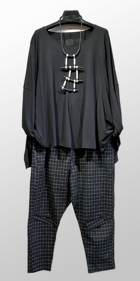 Rundholz Black Label oversize tee, over Black Label drop-rise pants in cotton-stretch fabric.