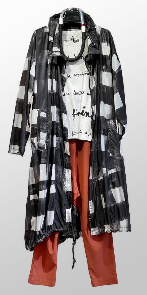Rundholz Black Label super-light nylon coat, over a Black Label boxy printed tee, and Black Label drop-rise technical pants.