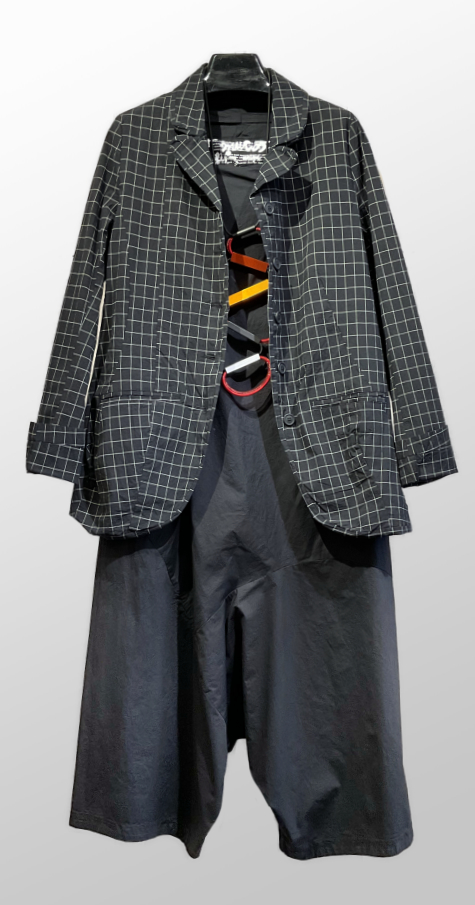 Rundholz Black Label relaxed check jacket, over a Black Label cotton jumpsuit.
