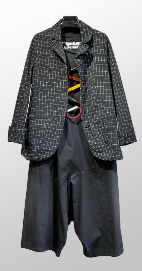 Rundholz Black Label relaxed check jacket, over a Black Label cotton jumpsuit.