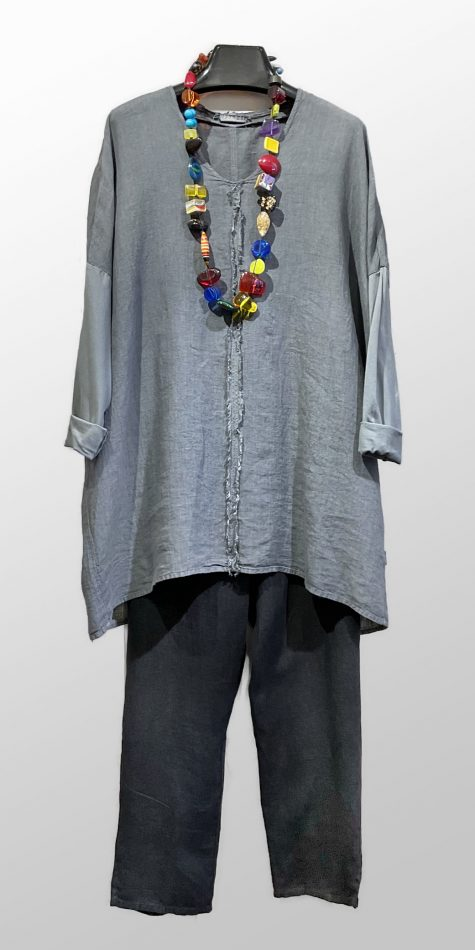 Elemente Clemente garment-dyed linen tunic, over Flax linen ankle pants in black.