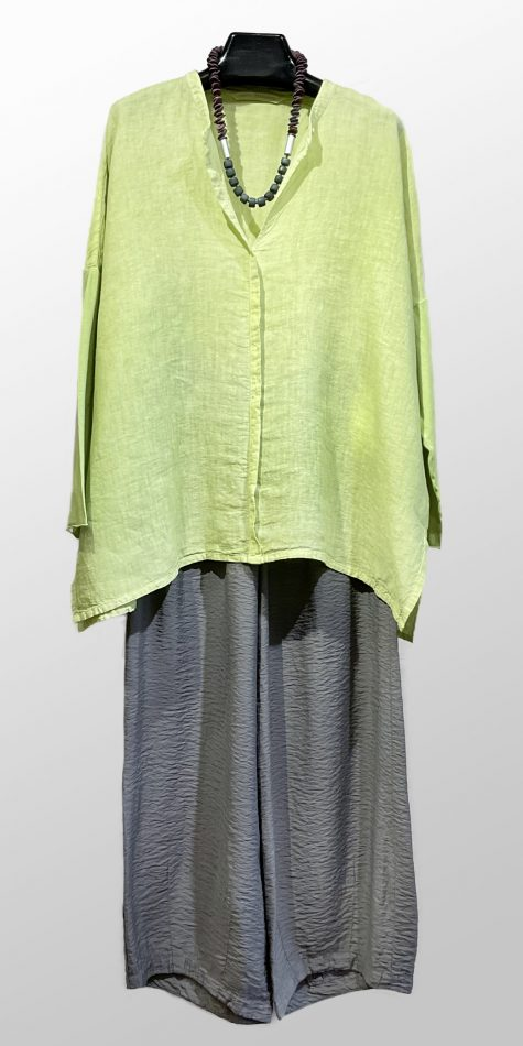 Elemente Clemente garment-dyed linen shirt, over Motion cropped darted pants in parachute rayon.