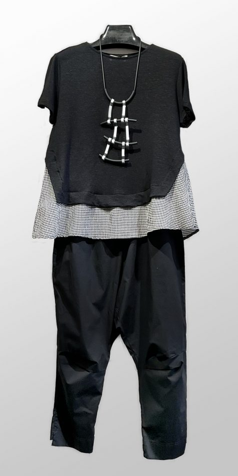 Mama B A-line linen knit tee with a gingham border, over Rundholz Black Label cotton drop-rise pants.
