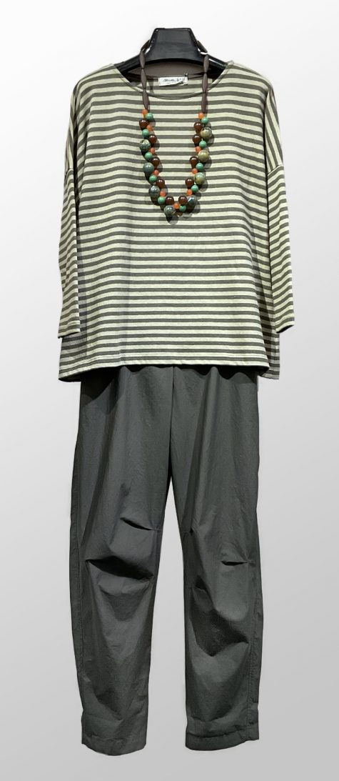 Mama B striped cotton knit relaxed tee, over a pair of Oska cotton relaxed pants.