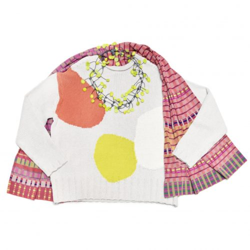 Oska cotton sweater with colourblock dots, paired with a Catherine Andre knit summer scarf.