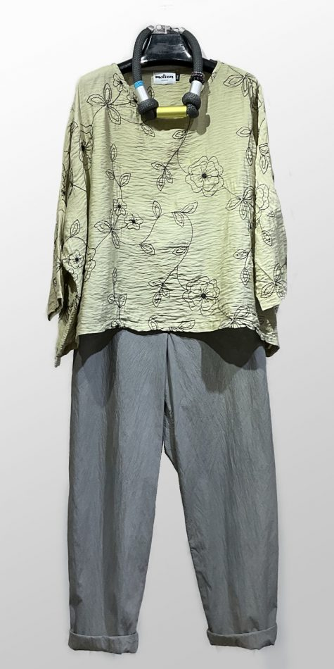 Motion parachute rayon embroidered onesize top, over Oska tapered leg trousers in lightweight cotton.