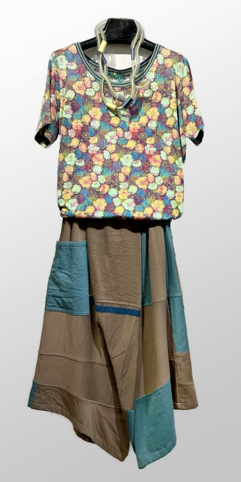 Catherine Andre sunny printed knit tee, over Tamaki Niime 100% cotton drop-rise pants.