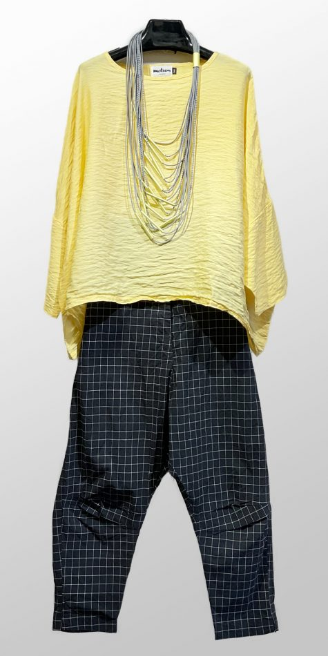Motion onesize parachute top, over Rundholz Black Label drop-rise pants in a windowpane check.