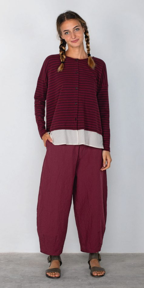Mama B stripe cotton knit cardigan with an ivory gingham border, paired with Mama B relaxed crinkle pants in Berry red.