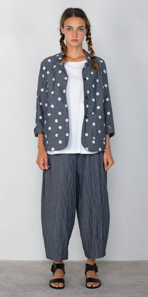 Mama B dotted cotton chambray jacket, paired with Mama B relaxed chambray pants with pinstripes.