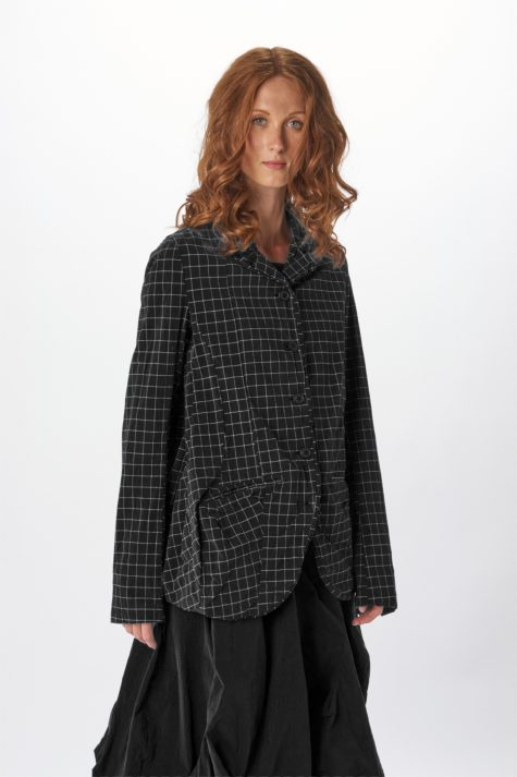 Rundholz Black Label relaxed check jacket in cotton stretch fabric.