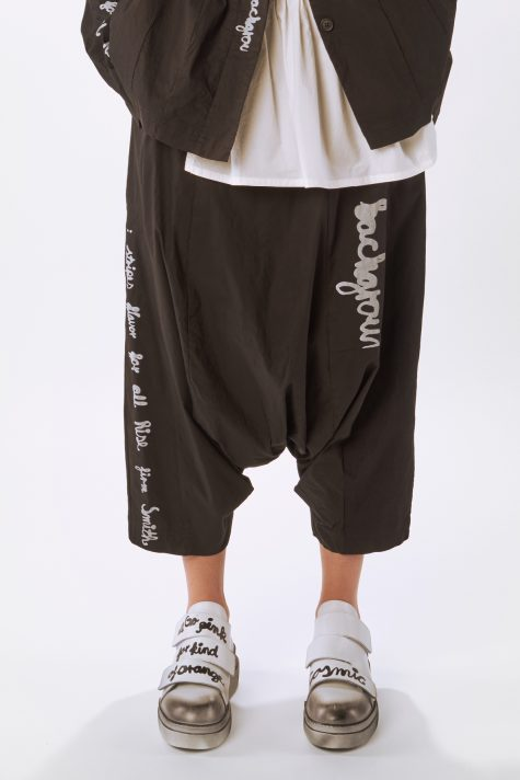 Rundholz Black Label drop-rise cropped pants with a print, in technical stretch fabric.