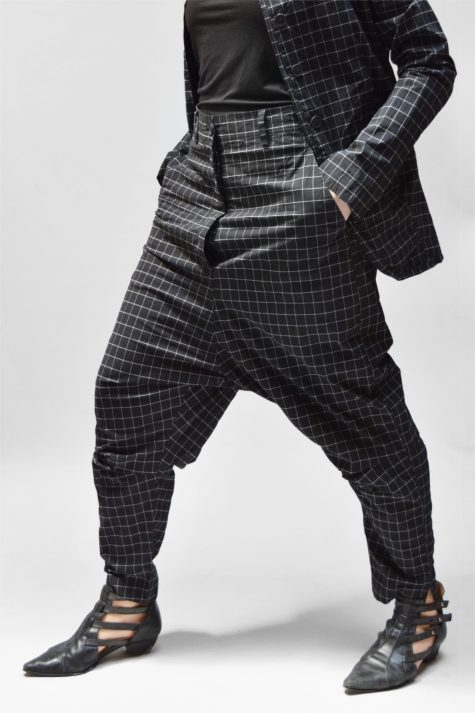 Rundholz Black Label drop-rise pants in cotton stretch fabric.