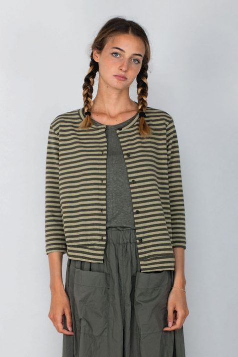 Mama B stripe cotton knit cardigan with an asymmetric hem, front and back.