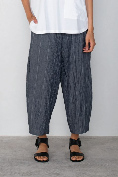 Mama B relaxed chambray pants with pinstripes.