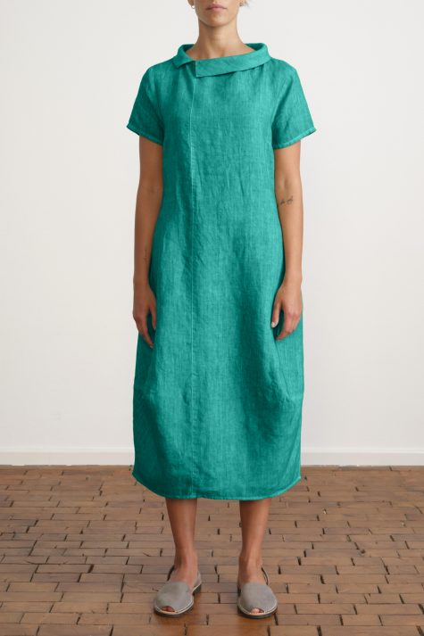 Elemente Clemente short sleeve linen bubble dress with an asymmetric collar.