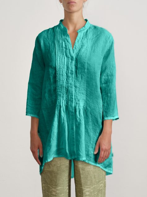 Elemente Clemente garment-dyed linen blouse with pintucks down the placket.