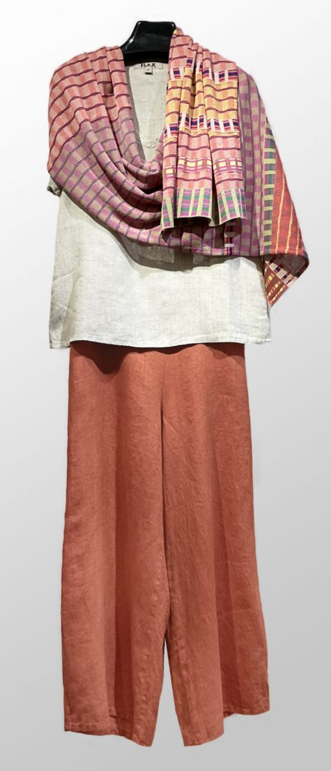 Flax short-sleeve linen tee, over Flax floods in Terracotta. Paired with a Catherine Andre knit summer shawl.