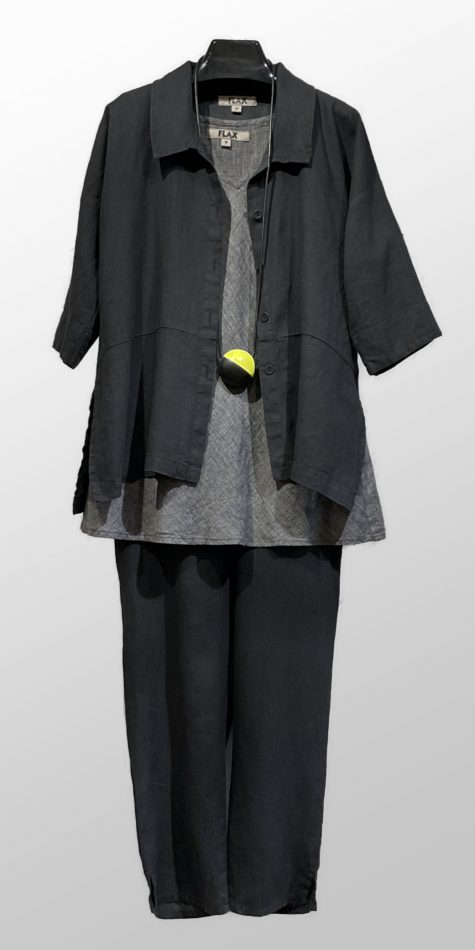 Flax linen jacket blouse, over a Flax bias-cut linen tank top. Paired with Flax ankle pants in black.